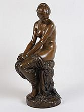 PEIFFER, FRENCH 19TH C. BRONZE FIGURE OF YOUNG WOMAN