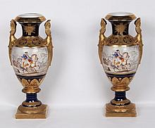 PAIR OF EMPIRE STYLE PORCELAIN URNS