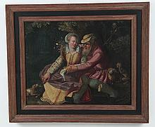 FRAMED 18TH/19TH C. OIL ON CANVAS COURTING SCENE PAINTING