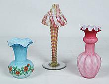 3 PIECE MISCELLANEOUS LOT OF HANDBLOWN ART GLASS