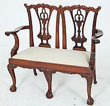 MINIATURE CHIPPENDALE STYLE CARVED MAHOGANY CHILD'S SETTEE