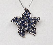14K SAPPHIRE AND DIAMOND STAR SHAPED PENDANT NECKLACE