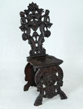 ITALIAN BAROQUE CARVED HALL CHAIR