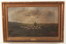 F. SCHHMIDT, OIL ON CANVAS PAINTING OF A SHEPHERD AND HIS FLOCK