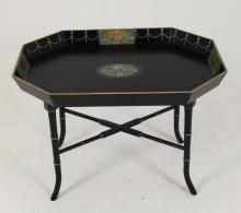 BLACK OCTAGON SHAPED HAND PAINTED LACQUERED TRAY TABLE