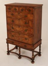 WILLIAM AND MARY STYLE ENGLISH WALNUT HIGHBOY