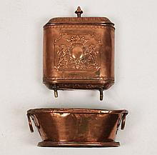 19TH C. FRENCH 2 PART COPPER LAVABO