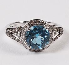 14K DIAMOND AND BLUE TOPAZ RING