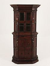 ITALIAN RENAISSANCE CARVED WALNUT 2 PART CABINET