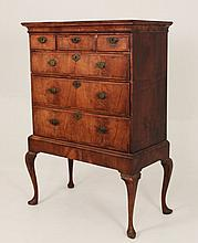 18TH C. QUEEN ANNE WALNUT CHEST ON FRAME