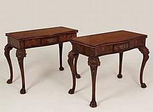 PAIR OF CROTCH MAHOGANY FOLDING GAME TABLES