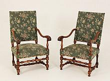 PAIR OF FRENCH PROVINCIAL WALNUT FAUTEUILS