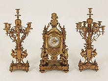 3 PIECE MONUMENTAL FRENCH CLOCK SET