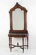 LOUIS XVI STYLE CARVED FRENCH MARBLE TOP CONSOLE AND MIRROR