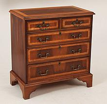 ENGLISH BANDED WALNUT BACHELORS CHEST