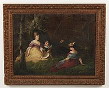 F. FLEURY, 19TH C. OIL ON CANVAS PAINTING OF 3 CHILDREN