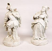 PAIR OF FRENCH CHANTILLY BISQUE FIGURES
