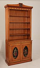 ENGLISH ADAMS DESIGN PAINTED SATINWOOD OPEN BOOKCASE