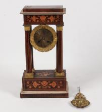 CONTINENTAL ROSEWOOD AND MARQUETRY PORTICO CLOCK