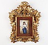 FINE GERMAN PORCELAIN PLAQUE IN FLORENTINE GOLD GILT FRAME