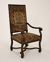 FRENCH PROVINCIAL CARVED WALNUT FAUTEUIL