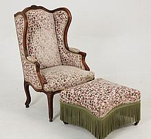 19TH C. LOUIS XV PROVINCIAL CARVED BERGERE AND TABOURET
