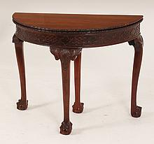 CHIPPENDALE STYLE CARVED MAHOGANY GAMES TABLE