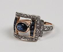 18K YELLOW GOLD DIAMOND AND BLUE SAPPHIRE RING