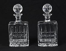 PAIR OF CUT GLASS RECTANGULAR DECANTERS