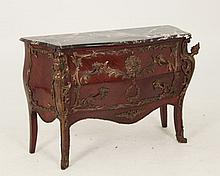 LOUIS XV STYLE BOMBE SHAPED MARBLE TOP COMMODE
