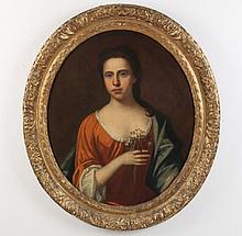 FINE 18TH C. IL ON CANVAS PORTRAIT OF WOMAN