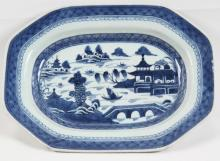 BLUE AND WHITE CANTONESE PORCELAIN DISH