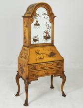 CHINOISERIE LACQUERED MIRRORED DOOR BUREAU BOOKCASE