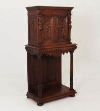 FRENCH CARVED OAK CABINET ON STAND