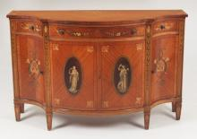 DECORATIVE PAINTED SATINWOOD ADAMS DESIGN COMMODE