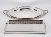 GROUP OF 4 SILVER PLATED SERVING TRAYS INCLUDING REED & BARTON