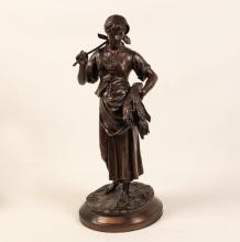 E. AIZELIN, 19TH C. FRENCH BRONZE SCULPTURE OF PEASANT GIRL