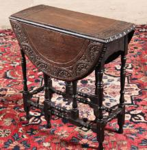 PETITE ENGLISH OAK CARVED DROP LEAF TABLE