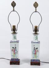 PAIR OF CHINESE FAMILLE PORCELAIN VASES