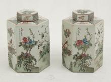 PAIR OF CHINESE PORCELAIN HEXAGON SHAPED CAPPED JARS