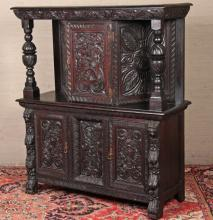 ENGLISH JACOBEAN STYLE CARVED OAK COURT CUPBOARD