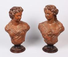 PAIR OF ITALIAN TERRA COTTA BUSTS OF WOMEN
