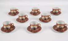 SET OF 8 ROYAL VIENNA NAPOLEONIC CUPS AND SAUCERS