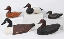 GROUP OF 5 ANTIQUE WOODEN DUCK DECOYS