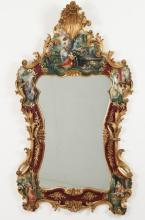 VENETIAN STYLE CARVED WOOD AND POLYCHROME MIRROR