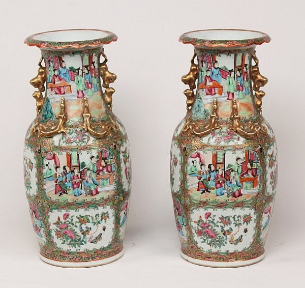 PAIR OF ROSE MEDALLION PORCELAIN URNS