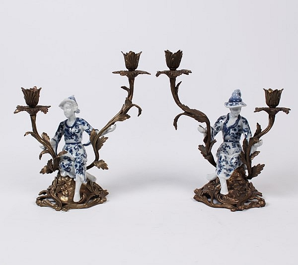 PAIR OF BRONZE AND FIGURAL BLUE AND WHITE PORCELAIN 2 LIGHT CANDELABRA