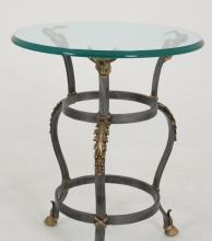 PAIR OF REGENCY DESIGNED CIRCULAR GLASS TOP TABLES