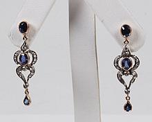 PAIR OF 18K YELLOW GOLD DIAMOND AND BLUE SAPPHIRE EARRINGS