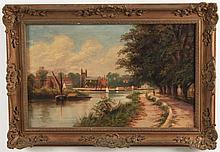 OIL ON CANVAS EUROPEAN LANDSCAPE PAINTING SIGNED J. LEWIS